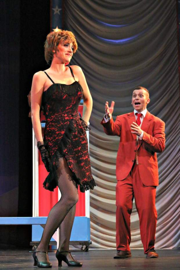 "Sandra Rice, a Redlands actress, plays Lola in ""Damn Yankees,"" along with Aaron Pyle as Mr. Applegate.Photo courtesy of Sandra Rice"