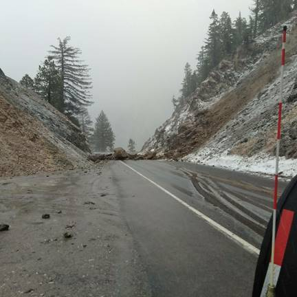 Rocks and debris closed a portion of the Angeles Crest Highway, also known as Highway 2, a mountain pass that runs through the Angeles National Forest during a spring storm March 22, 2018. (Courtesy Caltrans)