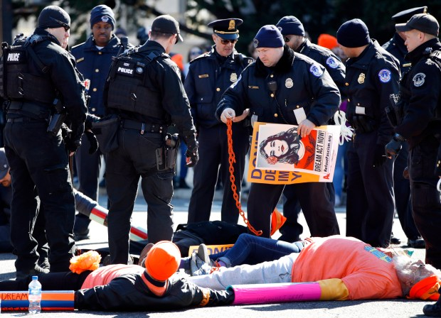 U,S. Capitol Police break chains locking together supporters of the Deferred Action for Childhood Arrivals (DACA) program, who were participating in an act of civil disobedience in support of DACA recipients, Monday, March 5, 2018, on Capitol Hill in Washington. (AP Photo/Jacquelyn Martin)