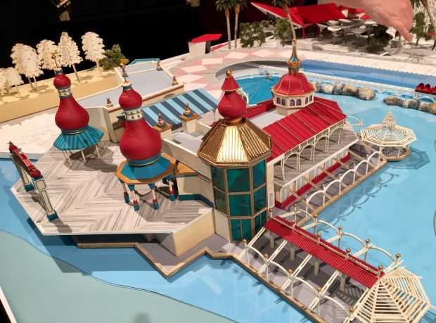 Model of the revamped Lamplight Lounge by Walt Disney Imagineering, part of the upcoming changes to the new Pixar Pier development at Disney California Adventure in Anaheim, as of March 8, 2018. The pier is still under construction. This two-story family lounge will replace the shuttered Cove Bar and Ariel's Grotto. Photo by Marla Jo Fisher, the Orange County Register, at Walt Disney Imagineering in Glendale, CA.