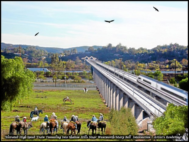 Artistic renderings by the Save Angeles Forest for Everyone (SAFE) coalition, representing northeast Valley communities affected by the proposed bullet train alternatives. A bridge/tunnel entering Shadow Hills.