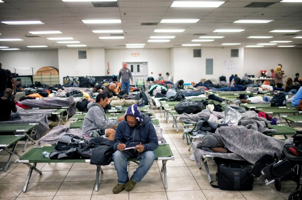 The emergency shelter at the Greater Missionary Baptist Church on Norris Ave. in Pacoima. (Photo by Hans Gutknecht, Los Angeles Daily News/SCNG)