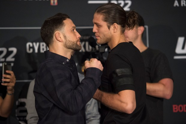 No. 2 UFC featherweight Frankie Edgar, left, and No. 3 UFC featherweight Brian Ortega during UFC 222 Ultimate Media Day at the MGM Grand Casino, Thursday, March 1, 2018. (Hans Gutknecht, Los Angeles Daily News/SCNG)