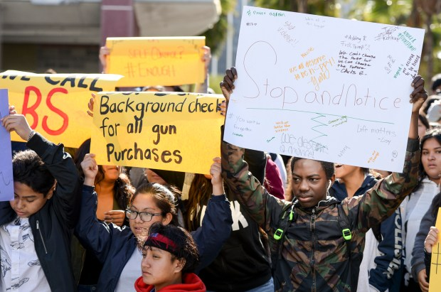 Students at Miguel Contreras Learning Complex in Los Angeles participate in a walkout Wednesday, March 14, 2018, from the campus quad to raise awareness in the wake of the school shooting in Parkland, Florida. They called for stricter gun laws. (Photo by David Crane, Los Angeles Daily News/SCNG)