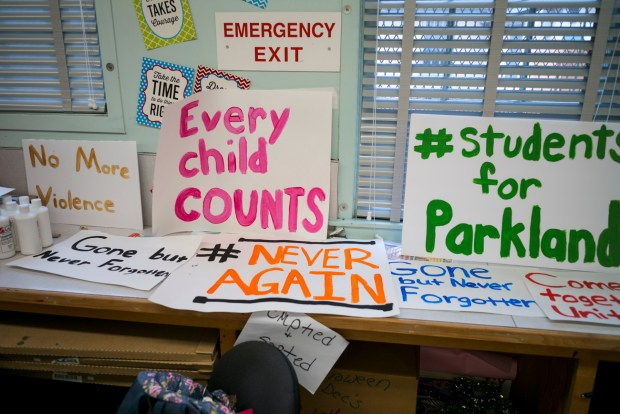 Signs prepared by students at Daniel Pearl Magnet High School in Van Nuys for a walk-out Wednesday to commemorate the school shooting in Parkland Florida. Students across the country plan a walk-out tomorrow to commemorate the shootings and protest current gun laws. (Photo by David Crane, Los Angeles Daily News/SCNG)