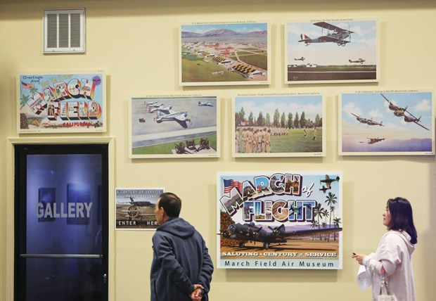 Enlargements of postcards from the late 30's are on display as part of an exhibit celebrating the 100th anniversary of March Field at March Field Air Museum in Riverside on Friday, Jan. 19, 2018. (Stan Lim, The Press-Enterprise/SCNG)