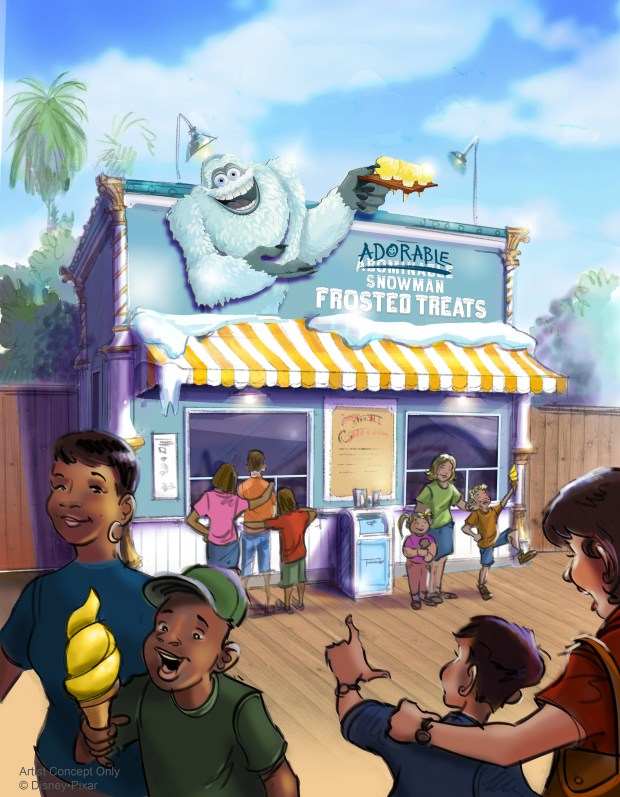 Artist rendering provided by Walt Disney Imagineering of the new Adorable Snowman Frosted Treats store, part of the Pixar Pier development at Disney California Adventure in Anaheim, as of March 8, 2018. The pier is still under construction. Photo by Marla Jo Fisher, the Orange County Register, at Walt Disney Imagineering in Glendale, CA.