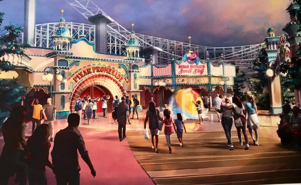 Artist rendering provided by Walt Disney Imagineering of the upcoming changes to the new Pixar Pier development at Disney California Adventure in Anaheim, as of March 8, 2018. The pier is still under construction. Photo by Marla Jo Fisher, the Orange County Register, at Walt Disney Imagineering in Glendale, CA.
