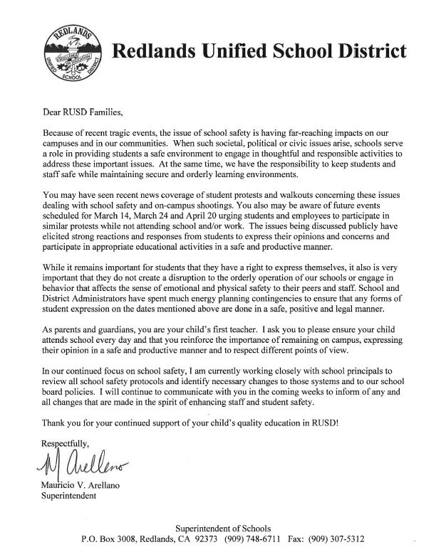 Redlands Unified School District Superintendent Mauricio V. Arellano sent a letter to parents last week addressing nationwide student demonstrations scheduled for March 14. (Courtesy of Redlands Unified School District)
