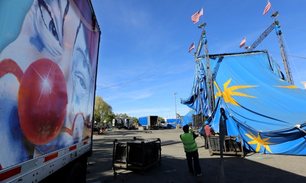 Workers raise the giant Circus Vargas tent Tuesday, March 6 for its Temecula shows in the parking lot at the Promenade Temecula mall.Photo by Frank Bellino, contributing photographer