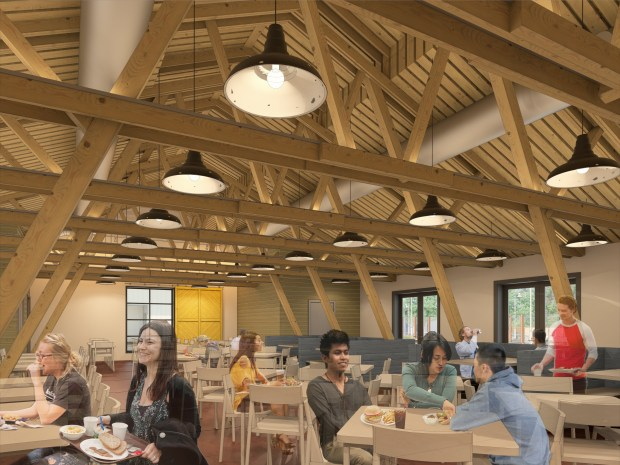 An artist's rendering of a remodeled and significantly brighter Barn interior illuminated by natural light. (Photo courtesy of UC Riverside)
