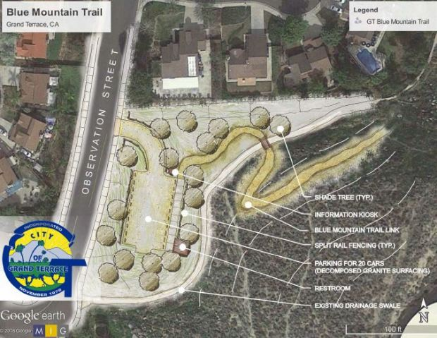 The City of Grand Terrace is proposing to put in a Blue Mountain trailhead on the corner of Observation and Van Buren streets, if they receive $250,000 in grant funding. (Courtesy of city of Grand Terrace)