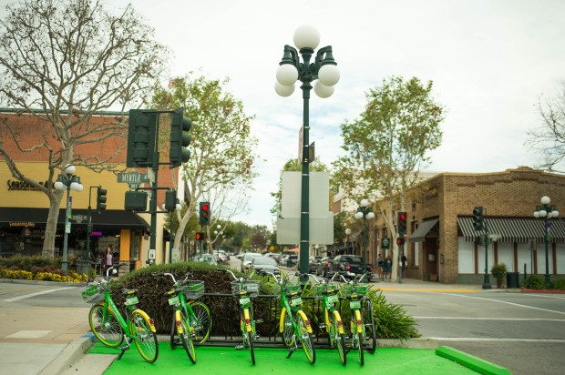 LimeBike, the no docks self-locking rental bikes, are seen in Old Town Monrovia on Tuesday, March 20, 2018. (Photo by Sarah Reingewirtz, Pasadena Star-News/SCNG)