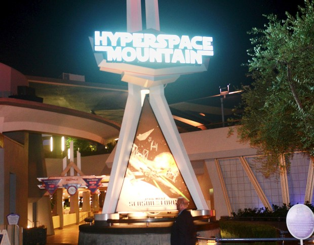 The Hyperspace Mountain overlay on Space Mountain at Disneyland in 2015. (File photo by: Bill Alkofer, Orange County Register/SCNG)