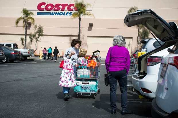 Leticia Campos, left, of North Hollywood, shops with her sister Rose Marie Joyce, of Whittier, at Costco in Montebello on Monday, March 12, 2018. Costco is suing the city of Montebello over the city's decision to block the company acquiring its existing site even though Costco is moving to a new shopping center in Monterey Park. (Photo by Sarah Reingewirtz, Pasadena Star-News/SCNG)