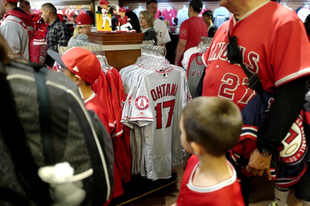 Los Angeles Angels' Shohei Ohtani merchandise prior to a Major League baseball game against the Cleveland Indians during opening night at Angel Stadium of Anaheim in Anaheim, Calif., on Monday, April 2, 2018. (Photo by Keith Birmingham, Pasadena Star-News/SCNG)