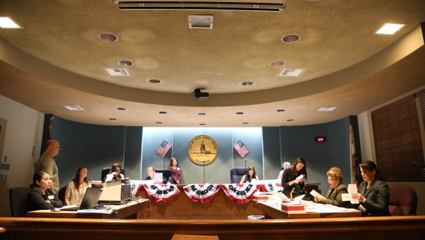 Ballots are sorted and counted Tuesday night April 10, 2018 at the Palos Verdes Estates City Hall. Photo By Charles Bennett