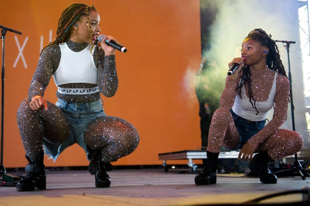 Chloe x Halle performs on the Mojave stage during the second day of the Coachella Valley Music and Arts Festival at the Empire Polo Club in Indio on April 14, 2018. (Photo by Matt Masin, Contributing Photographer)