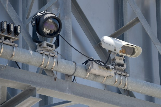 A series of cameras and sensors monitor cars traveling along the 110 Express Lanes in the Harbor Gateway area of Los Angeles on Friday, Apr 13, 2018. (Photo by Scott Varley, Contributing Photographer)