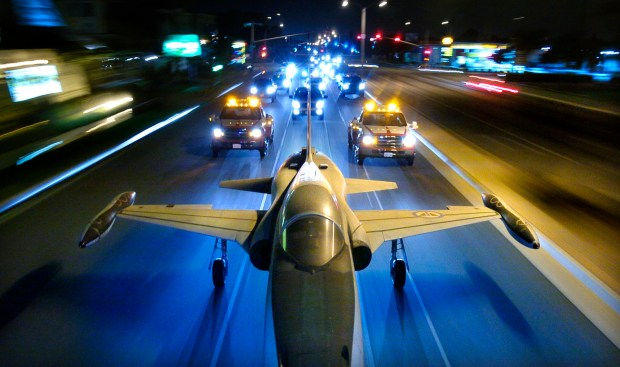 A Northrop F-5 jet fighter makes its way toward the Western Museum of Flight at Torrance Municpal Airport in October 2007. Daily Breeze file photo