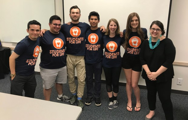 Kristan Hawkins, president of the national organization Students for Life of America, is seen at the far right, with Brooke Paz, president of CSUF Students for Life, second from right, and other club members on April 11 at Cal State Fullerton. (Photo courtesy of Students for Life)