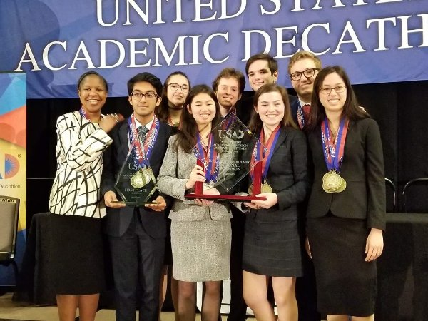 The team from El Camino Real Charter High celebrates Saturday, April 21, 2018, after winning the U.S. Academic Decathlon in Friso, Texas. The school has won the national title eight times. (Photo courtesy of El Camino Real Charter High School)