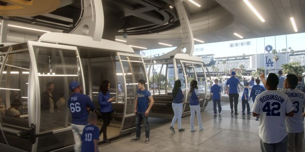 A rendering of the proposed aerial tramway connecting Union Station to Dodgers Stadium. (Photo courtesy of Aerial Rapid Transit Technologies LLC)