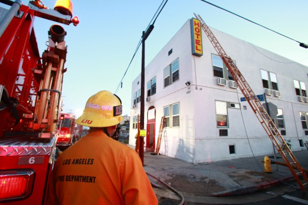 Firefighters are on scene Thursday, April 26, 2018, after a fire at 1001 S. Palos Verdes St. in San Pedro critically injured a 70-year old man and also injured two others, possibly from smoke inhalation. (Photo by Raphael Richardson/Special to the Daily Breeze)