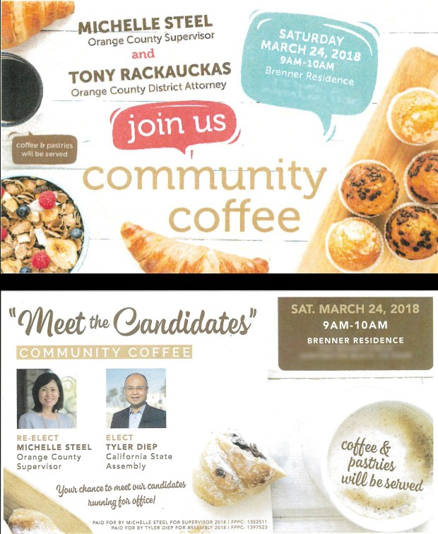 """Orange County Supervisor Michelle Steel's taxpayer-funded mailers are nearly identical to flyers sent by her campaign, causing ethics experts to suggest both are being used to help her get re-elected. One mailer design paid for with public funds (top) advertised a public """"community coffee"""" at a Huntington Beach home. Steel later repurposed the event into a candidate meet-and-greet and promoted it with a very similar-looking, campaign-funded mailer (bottom). Both mailers were designed by the same company."""