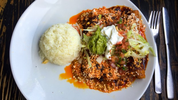 Pork pibil enchiladas at Anepalco on Chapman in Orange. (Photo by Brad A. Johnson, Orange County Register/SCNG)
