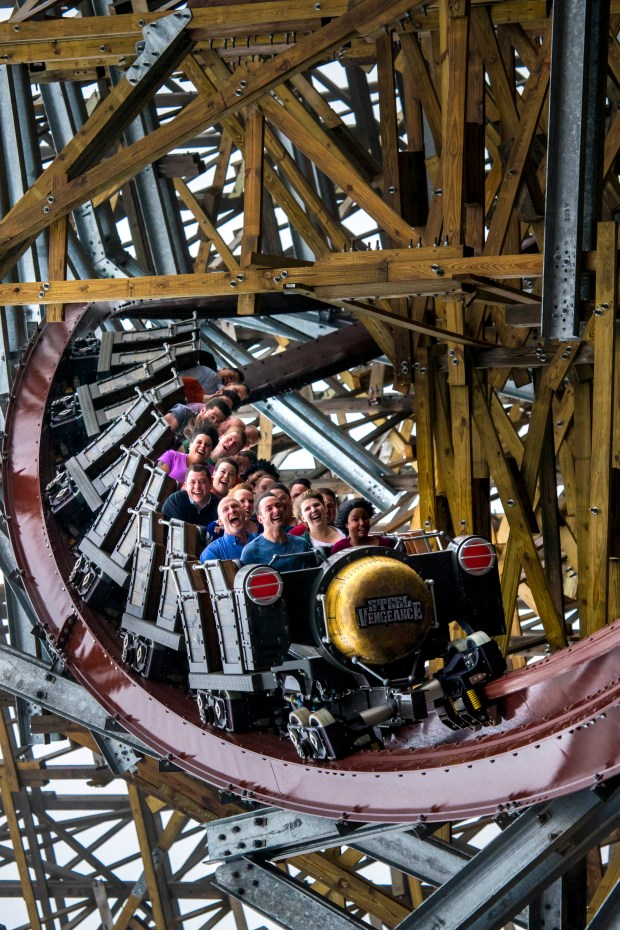 Steel Vengeance is a new steel re-tracking of the Mean Streak wooden roller coaster at Cedar Point in Sandusky, Ohio. (Photo by Jordan Sternberg, courtesy of Cedar Point Entertainment Co.)