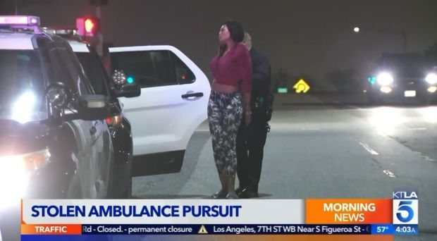 The pursuit of a stolen ambulance ended with this woman's arrest about 1:20 a.m. Tuesday, April 3, 2018, on the 71 Freeway in the Chino Hills area. (Image from KTLA5 video)