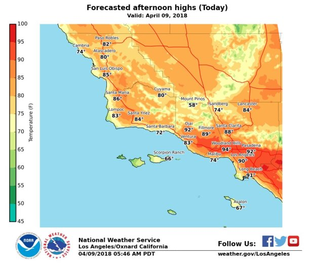 The forecasted high temperatures for Monday, April 9, 2018, as a heat wave was set to descend on Southern California. (Click for a larger image)