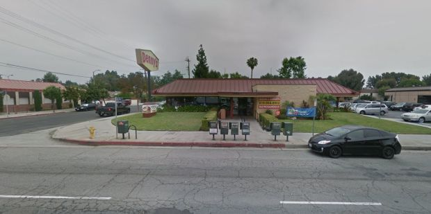 A man with a knife is barricaded in the restroom of this Denny's near the Van Nuys Airport. (Google Street View)