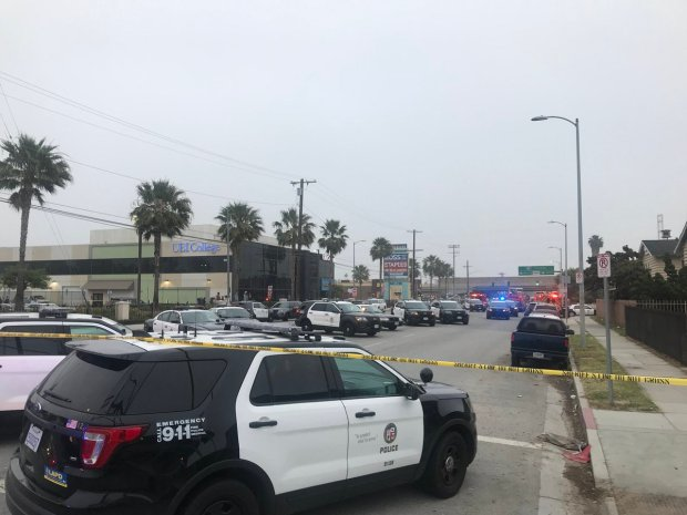 There is a heavy LAPD presence early Tuesday, April 24, 2018, in the Gardena neighborhood where a suspect who fired shots and was barricaded before surrendering. There was a fire at the scene. (Photo courtesy of Fox11)