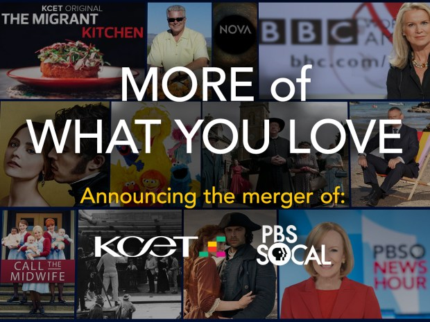 Public TV stations KCET (Channel 28) and KOCE/PBS SoCal (Channel 50) are announcing their merger in part by distributing the following graphic. (Image courtesy of KCET)