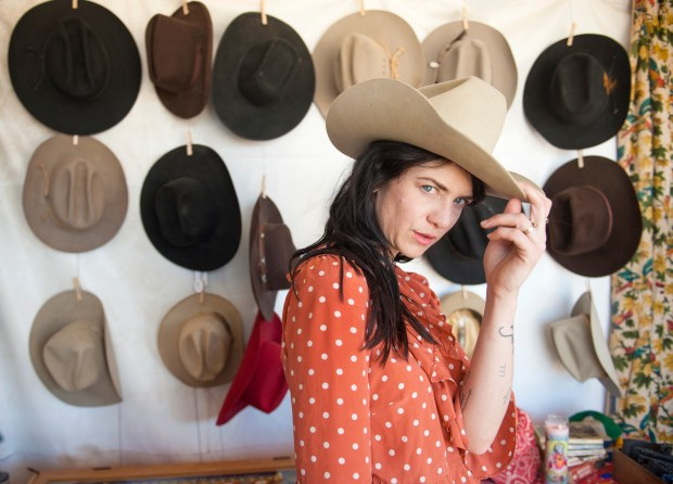 Nikki Lane poses for a portrait in her Highclass Hillbilly shop within the Bazaar during the Stagecoach Country Music Festival at the Empire Polo Club in Indio on Friday, April 27 2018. (Photo by Matt Masin, Contributing Photographer)