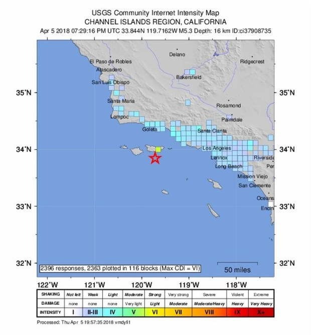 A map from the USGS shows the how much - or little - Southern California residents felt the quake Thursday afternoon. (Image courtesy of USGS)