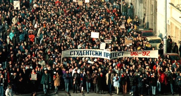 "Belgrade students protest in ""The Other Side of Everything."""