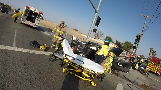 Firefighters and emergency personnel at the scene of Saturday's fatal accident in Jurupa Valley. (Courtesy Cal Fire/Riverside County)