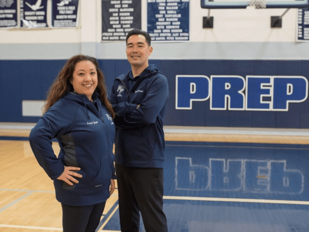 From Left: Jayme Chen and Kevin Kiyomura of Flintridge Prep have been named the Star-News Girls Basketball coaches of the year.