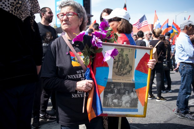 Thousands attend a march in Hollywood Tuesday, April 24, 2018, to commemorate the 103rd anniversary of the Armenian Genocide. (Photo by David Crane, Los Angeles Daily News/SCNG)