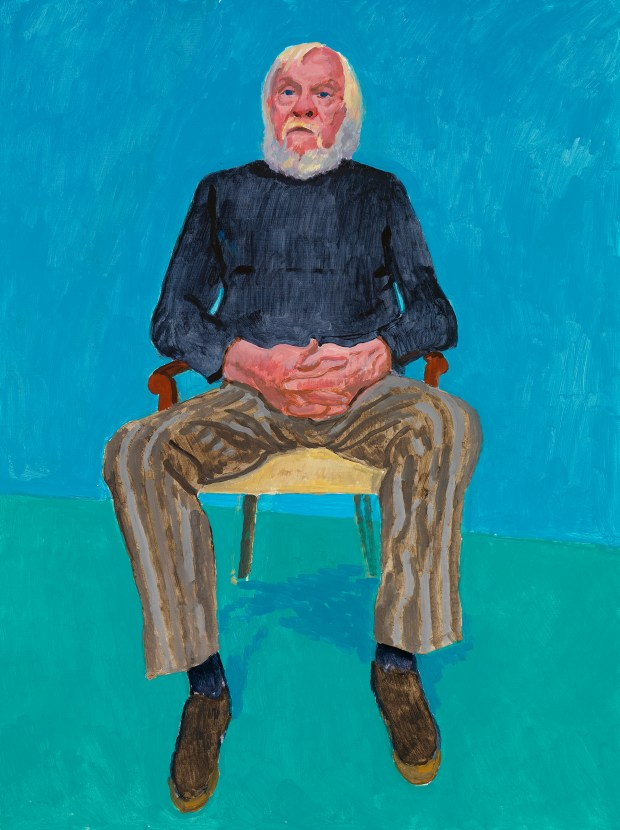 "John Baldessari's portrait is featured in ""82 Portraits and 1 Still-life"" on view at LACMA. (Courtesy of the artist David Hockney, photo by Richard Schmidt)"
