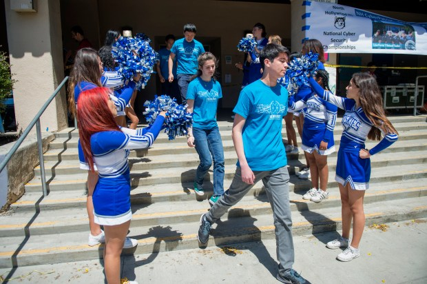 A rally was held on the campus of North Hollywood High School to celebrate the campus's three CyberPatriot teams. (Photo by Hans Gutknecht, Los Angeles Daily News/SCNG)