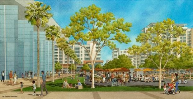 A farmers market, held next to an Entertainment and Sports Center, is one of the many community events that will take place at the proposed Promenade 2035 (Courtesy).