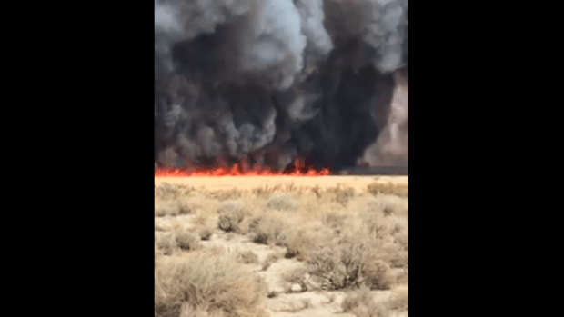 Cal Fire firefighters held the Moffat fire to 1,050 acres and increased containment to 25 percent on the wildfire that was sparked April 19 near Highway 395 just outside Lone Pine. (Courtesy Cal Fire)