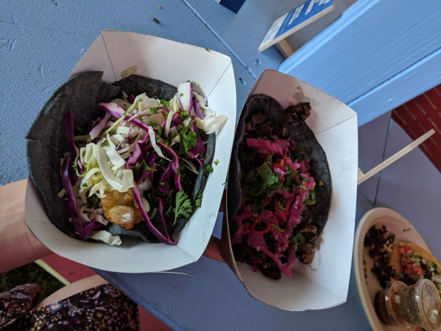 An avocado taco and a mushroom taco from Seabirds.