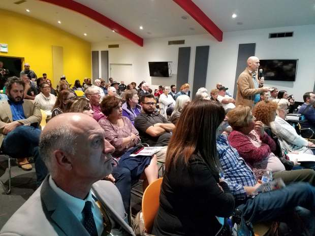 Eric Lieberman, a land-use entitlements consultant who represents property owners, talks about the North Hills development on Monday, April 2, 2018, at a meeting of the North Hills East Neighborhood Council. (Photo by Olga Grigoryants/Los Angeles Daily News)