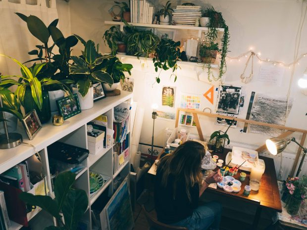 Houseplants create a calm work environment. (Photo credit Kevin Fickling)