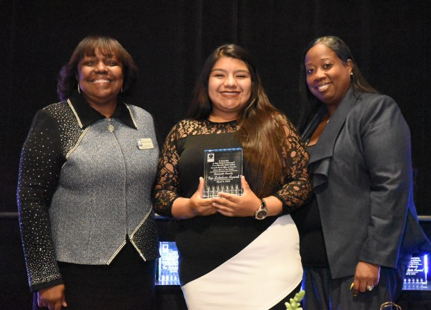 Riverside County Superintendent of Schools Judy White, left, with honoree Kaila Elisarraras and her principal, Maj. Angela Lawyer, of the Riverside County Education Academy. Photo courtesy of Riverside County Office of Education